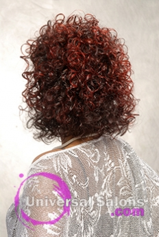 Back View Curly Hairstyle for Block Women with Hair Color from Pam Webster