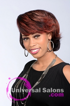 Front View of a Short Hairstyle with Red Hair Color for Black Women by Tanisha Holland