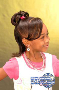 Right View Ponytail with Side Bangs Black Hairstyles for Little Girls