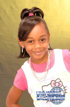 Model Wearing Ponytail with Side Bangs Black Hairstyles for Little Girls