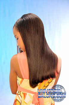 Left View: Long Silk Press Hairstyle for Little Girls