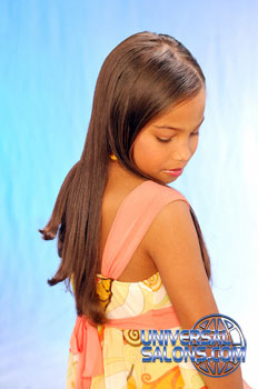 Right View: Long Silk Press Hairstyle for Little Girls