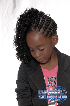 Left View: Cornrows on the Side and Tight Curls