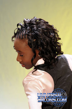 Left View: Cornrows Curly Bob Hairstyle