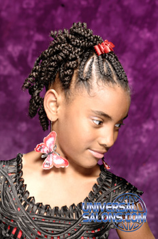 Left Side View of a Model Wearing Cornrows and a Braided Twist
