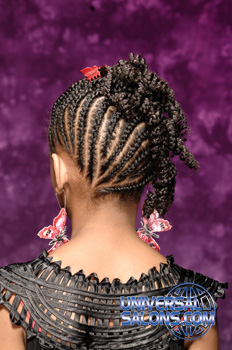 Back View of a Model Wearing Cornrows and a Braided Twist