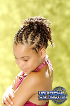 Right View: Little Girl wearing French Braid Cornrows