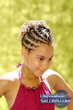 Left View: Little Girl wearing French Braid Cornrows