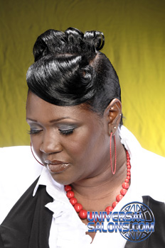 Updo Hairstyle with Pin Curls and a Swoop Bang from Kandi Washington