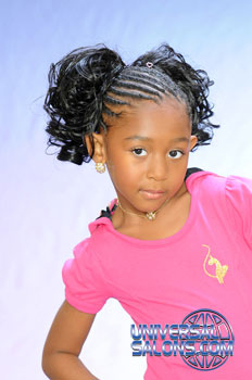 Left View: Cornrows With Two Curled Pig Tails