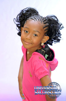 Cornrows With Two Curled Pig Tails