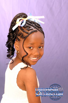 Right Side: Cornrows and Curled Ponytail