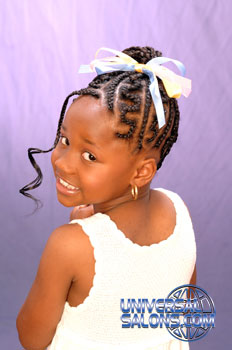 Left Side: Cornrows and Curled Ponytail