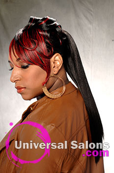 """Katina King's """"Lady in Red"""" Long Ponytail with Hair Color"""