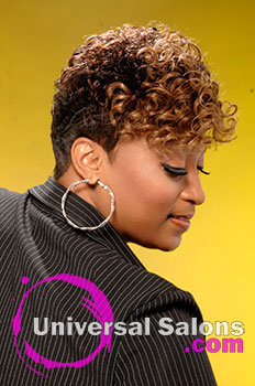 """Natasha Johnson's """"Texture & Tones"""" Short Hairstyle with Hair Color and Curls"""