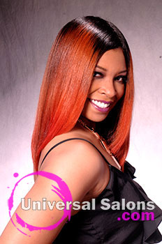 """Dre' Ramseur Blanton's """"Autumn Sunrise"""" Long Hairstyle with Color"""