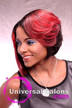 Shauna Robinson's Asymmetrical Bob Hairstyle with Hair Color