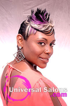Shauna Robinson's Tapered Purple Reign Short Hairstyle with Color