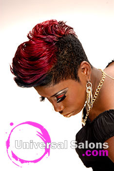 """Nikia Gorham's Color """"Me"""" Bad Short Mohawk Hairstyle with Highlights"""