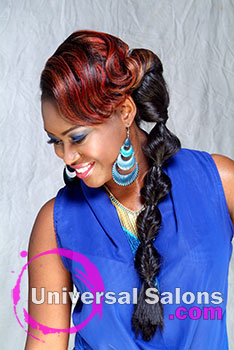 Chic Red Bubble Braid Hairstyle from Aniya Oden