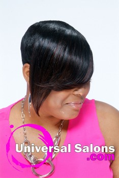 Short Tapered Hairstyle with a Long Bang from Kenya Young