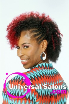 Curly Braided Hairstyle with Hair Color from Kenya Young