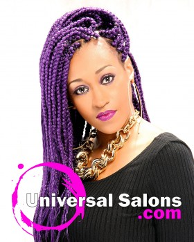 Eggplant Patra Long Braids Hairstyle from Shontelise Crutch