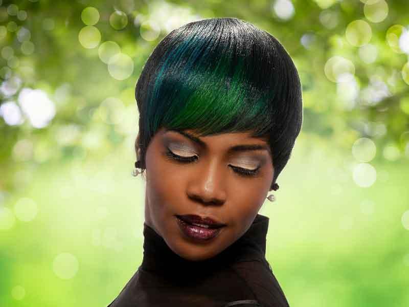 """The Peacock"" Short Haircut Hair Color Ideas for Black Women"