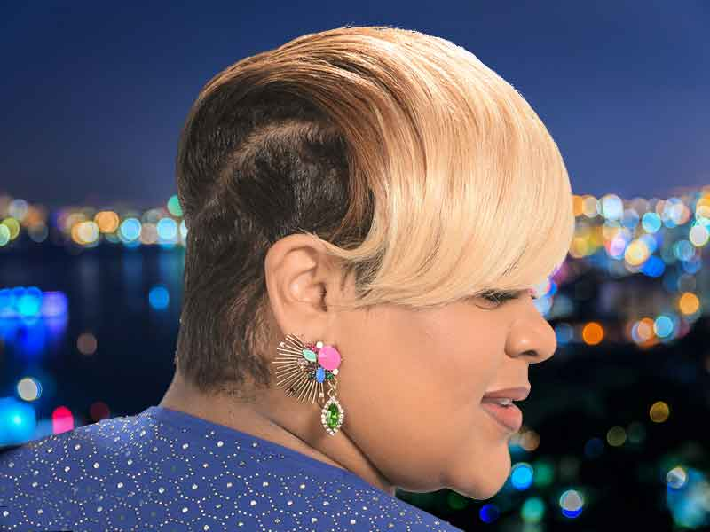 Short Blonde Hair Color Ideas for Black Women with Tapered Sides