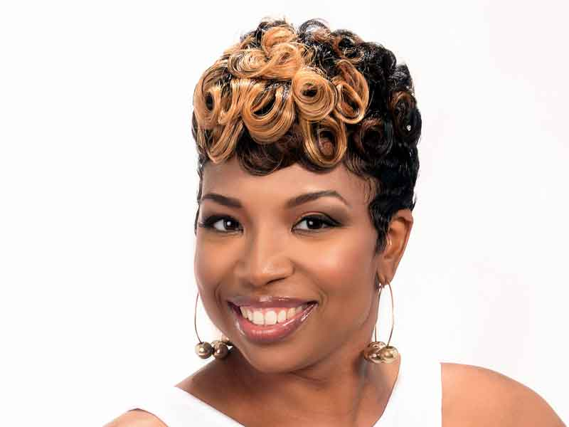Short Hairstyle with Curls and Color from Leona Burns