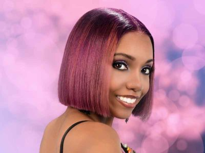 Bob Hairstyle with Bubble Gum Hair Color