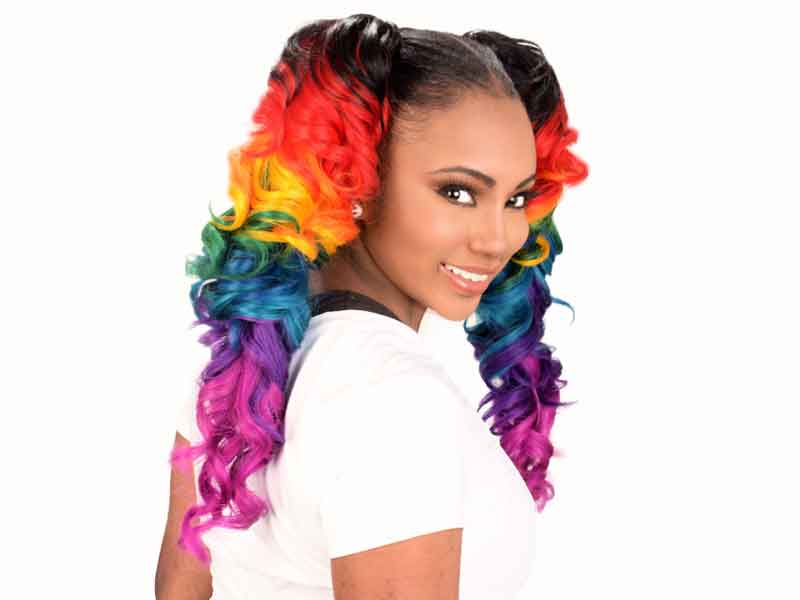 Ponytail Hairstyle with Rainbow Haircolor