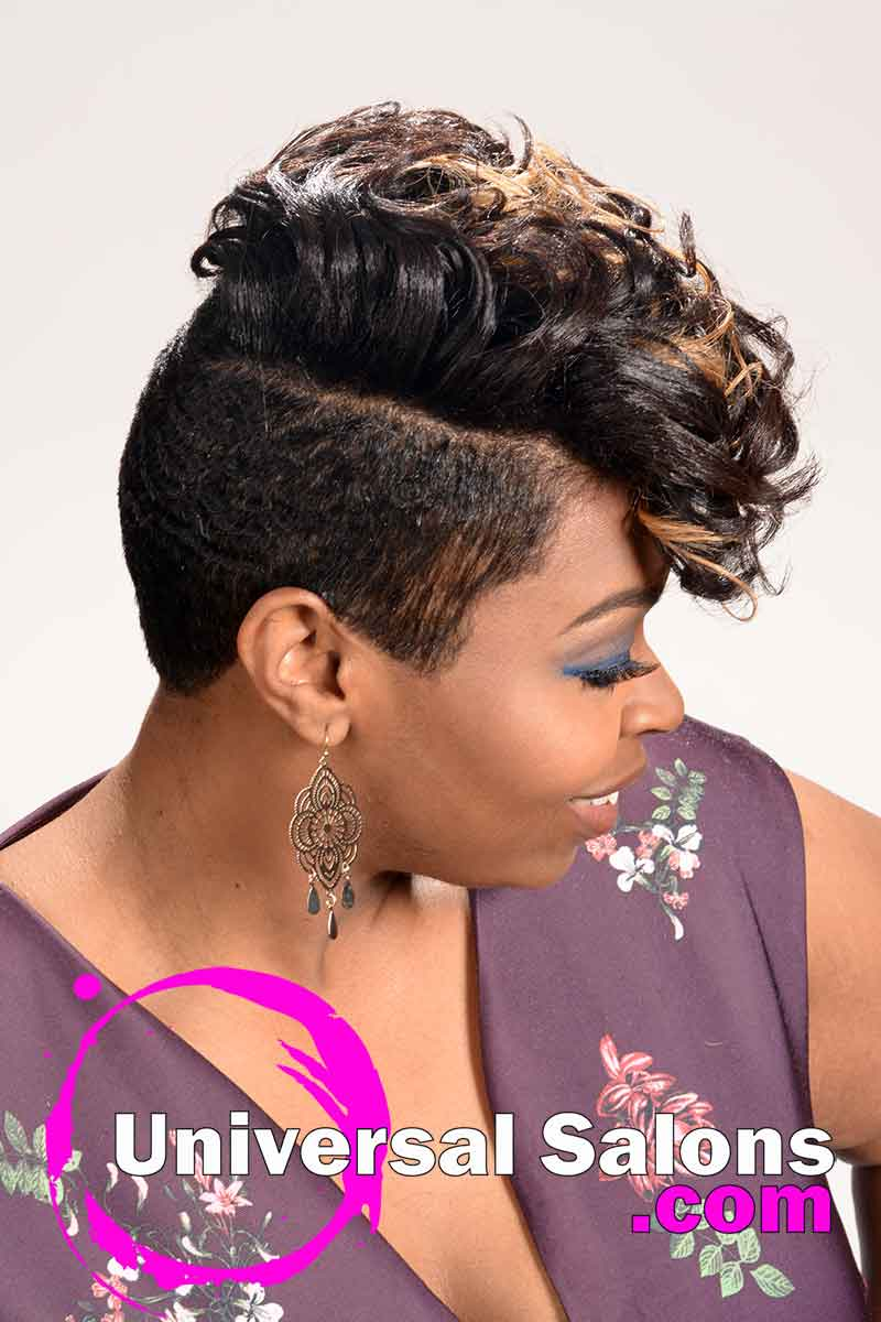 Another Right Side: Short Curly Hairstyle with Highlights