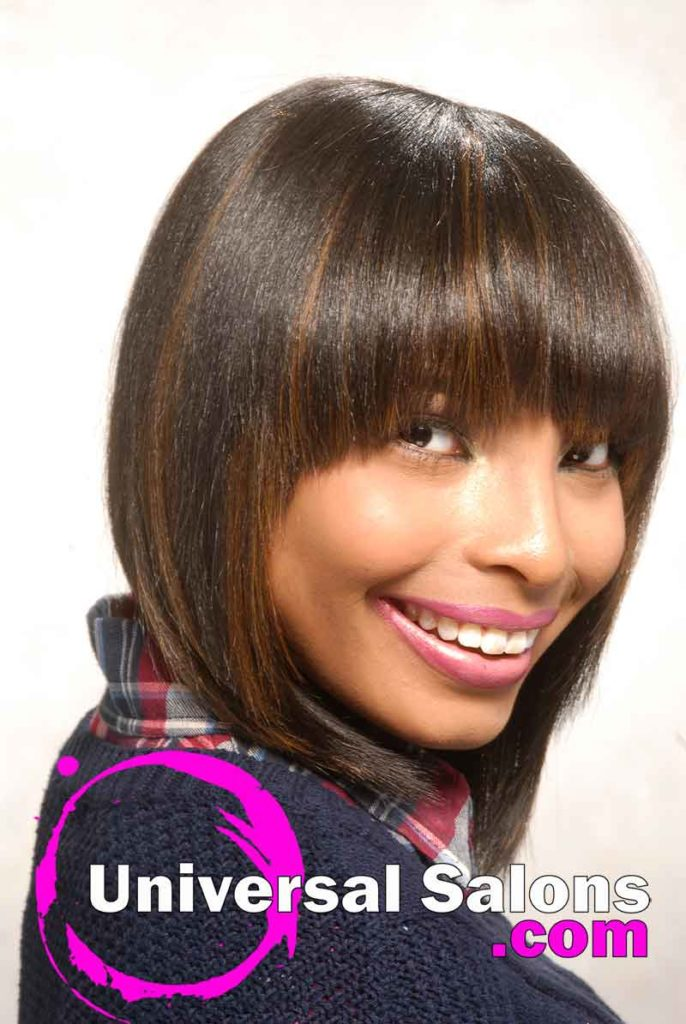 Left Side View: Chinese Bob Hairstyle with Blunt Bang