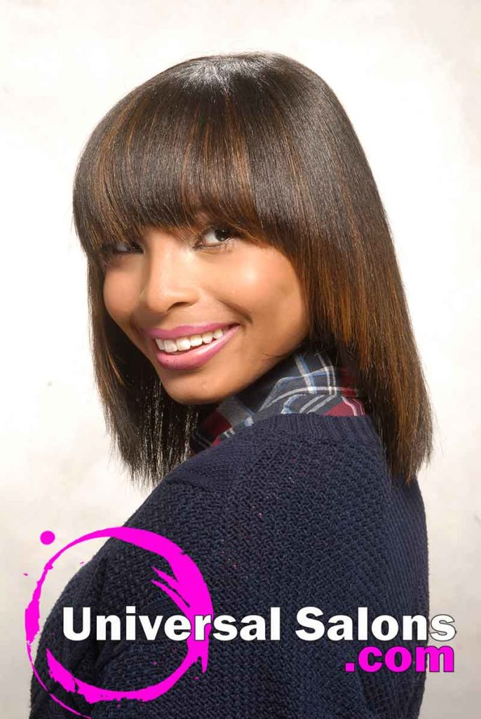 Right Side View: Chinese Bob Hairstyle with Blunt Bang