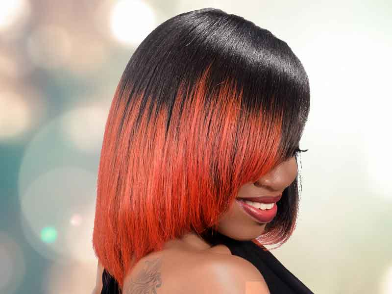 Bob Hairstyle with Fire Red Hair Color