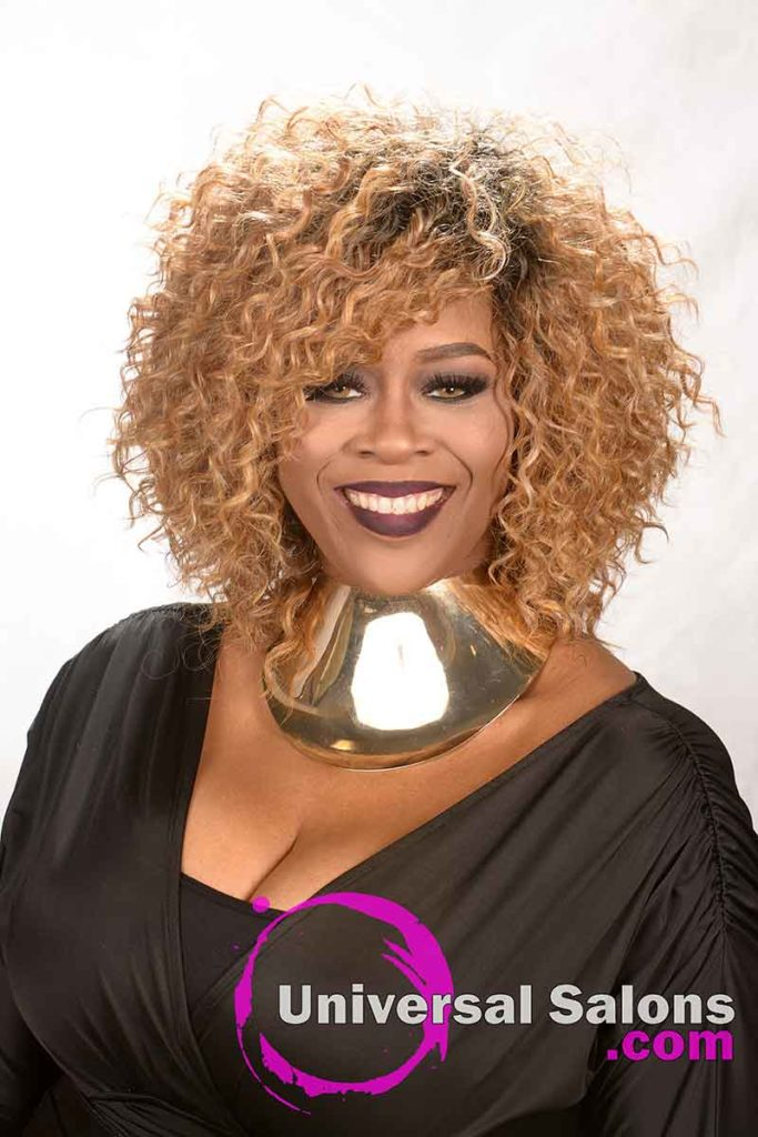 Front View: Blonde Curly Hairstyle for Black Women