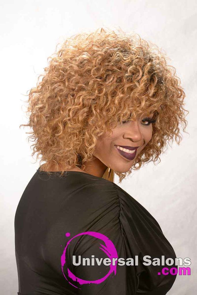 Right Side View: Blonde Curly Hairstyle for Black Women