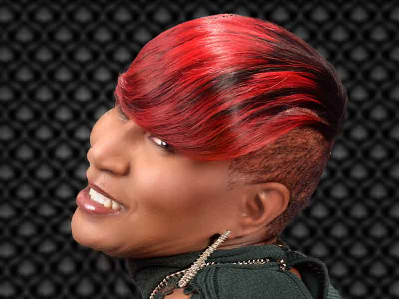 Short Hairstyle with Red Hair Color from Janee Hunter
