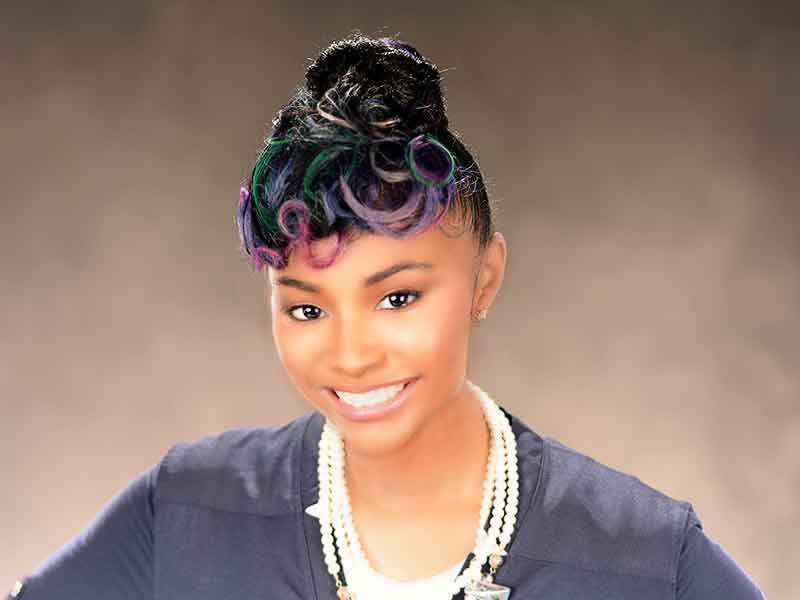 Updo Hairstyle with Rainbow Hair Color