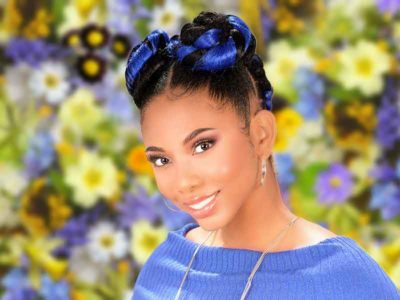 Feed-In Braids Hairstyle with Two Ninja Knot Buns on the Top Hairstyle