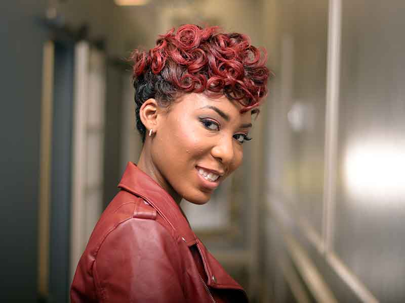 Short Hairstyle with Pin Curls and Hair Color
