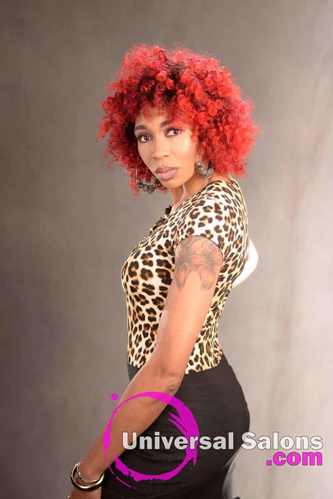 3/4 Left: Check Out This Intense Red Hair Color on Natural Hair