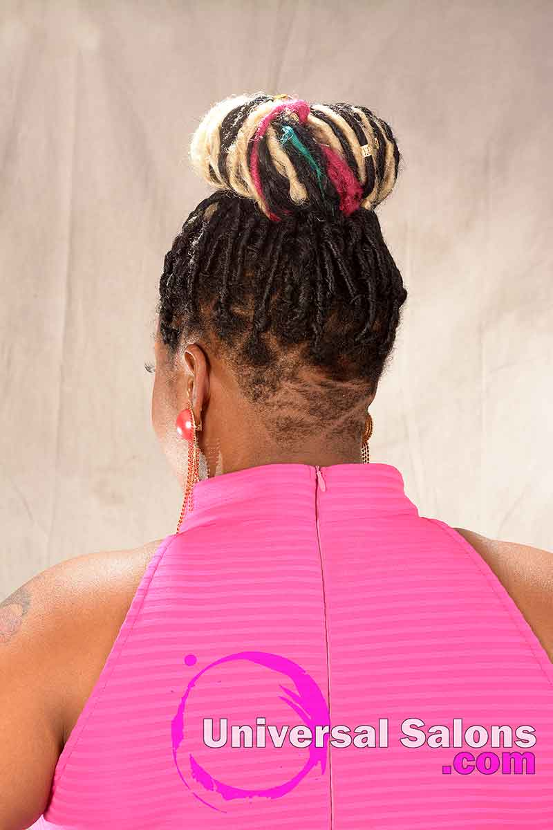 Back View: Beautiful Braided Updo with Hair Color