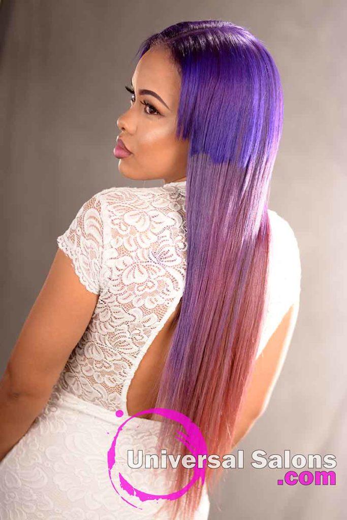 Back Left Side: Long Color Melt Hair Technique