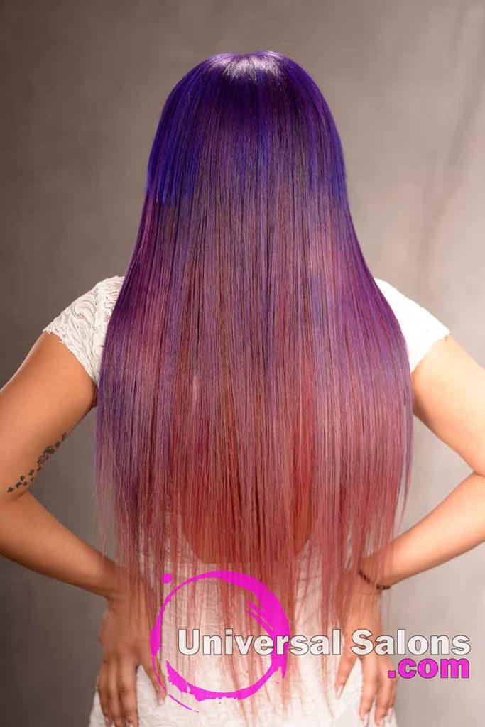 Back View: Long Color Melt Hair Technique