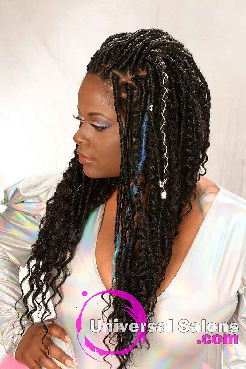 Right View: Long Faux Locs Goddess Braids Hairstyle