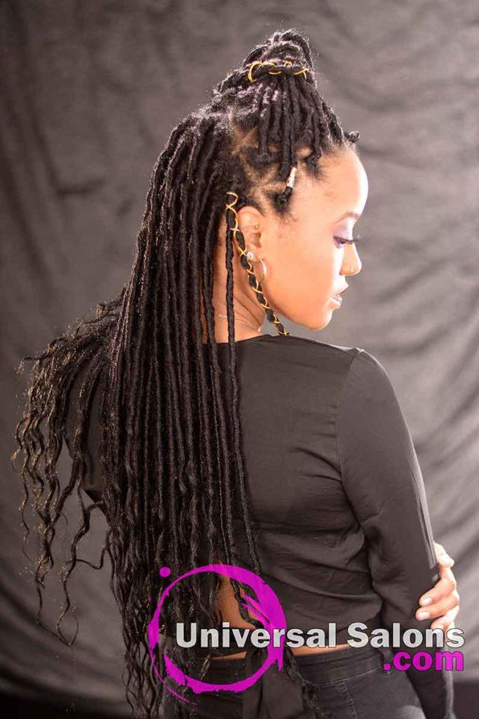 Right View: Long Ponytail Hairstyle Using Interlocking Locs Method