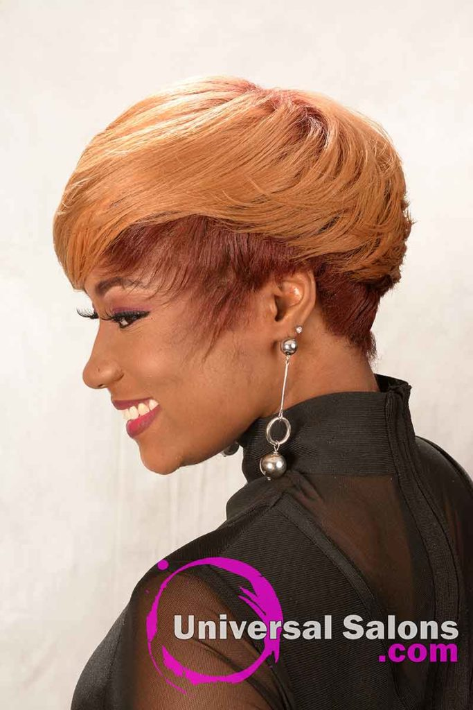 Short Haircut for Black Women with Honey Blonde Hair Color