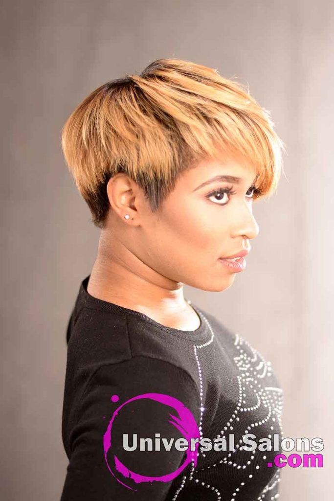 Left View: Short Hairstyle with a Custom Haircut and Ombre Color